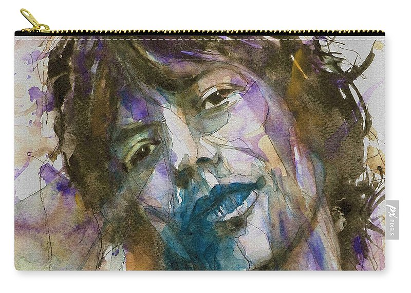 The Rolling Stones Carry-all Pouch featuring the painting Gimme Shelter - Mick Jagger - Resize Crop by Paul Lovering