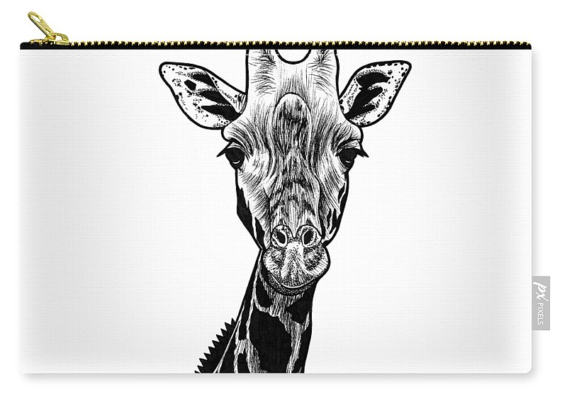 Giraffe Carry-all Pouch featuring the drawing Giraffe Ink Illustration by Loren Dowding