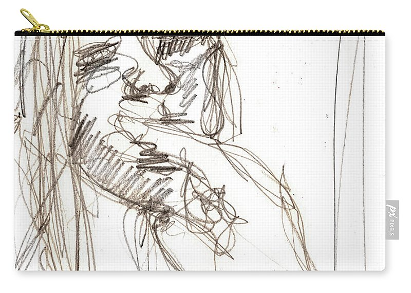 Girl Carry-all Pouch featuring the drawing Girl Portrait Drawing by Artist Dot