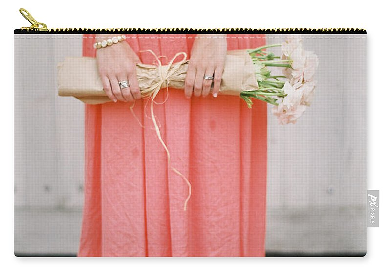 People Carry-all Pouch featuring the photograph Girl With Flowers by Photographed By Victoria Phipps ©