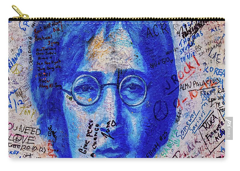 John Lennon Carry-all Pouch featuring the mixed media Give Peace A Chance by Smart Aviation