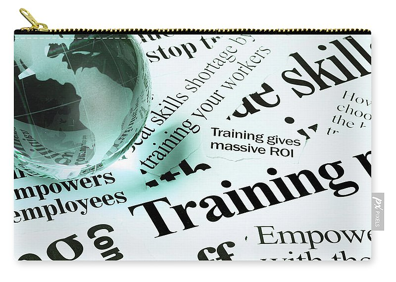 Employment And Labor Carry-all Pouch featuring the photograph Glass Globe Paperweight On Headlines by Rapideye