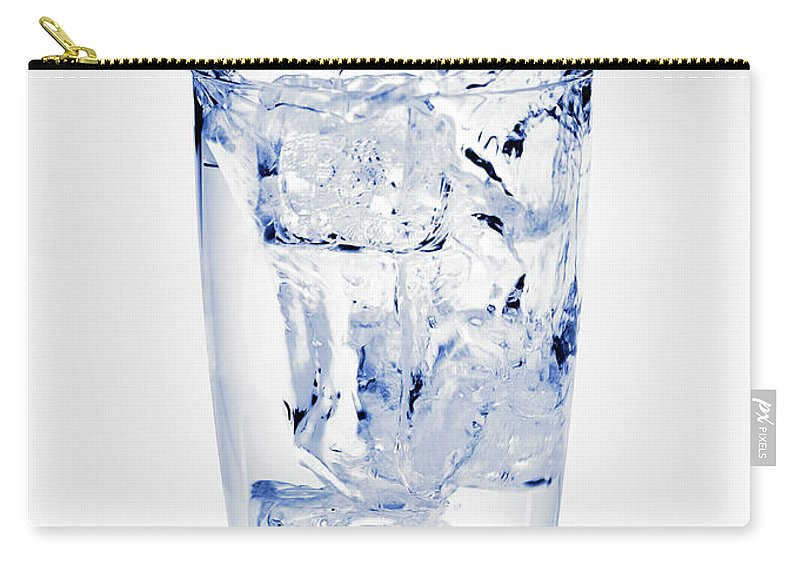 White Background Carry-all Pouch featuring the photograph Glass Of Water Splashing Around by Maria Toutoudaki