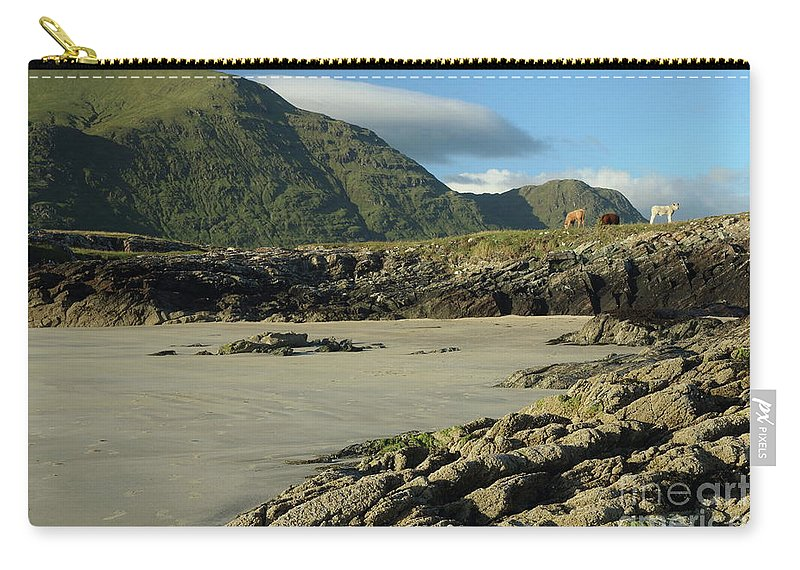 Evening Sunshine Glassilaun Beach Killary Harbour Tully Connemara Galway Photography Walkabouts Ireland Mountains Seascape Landscape Photography Carry-all Pouch featuring the photograph Glassilaun Beach Connemara by Peter Skelton