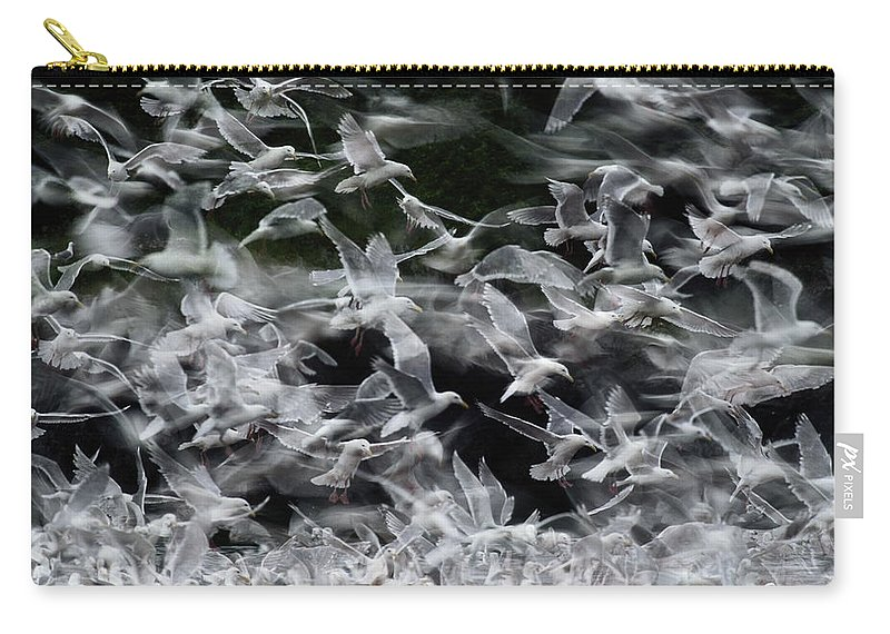 Blurred Motion Carry-all Pouch featuring the photograph Glaucous-winged Gulls by Eastcott Momatiuk