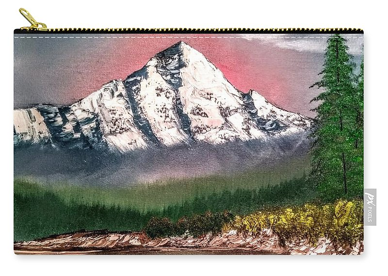 Blue Carry-all Pouch featuring the painting Glowing Mountain by Rodger Saunders