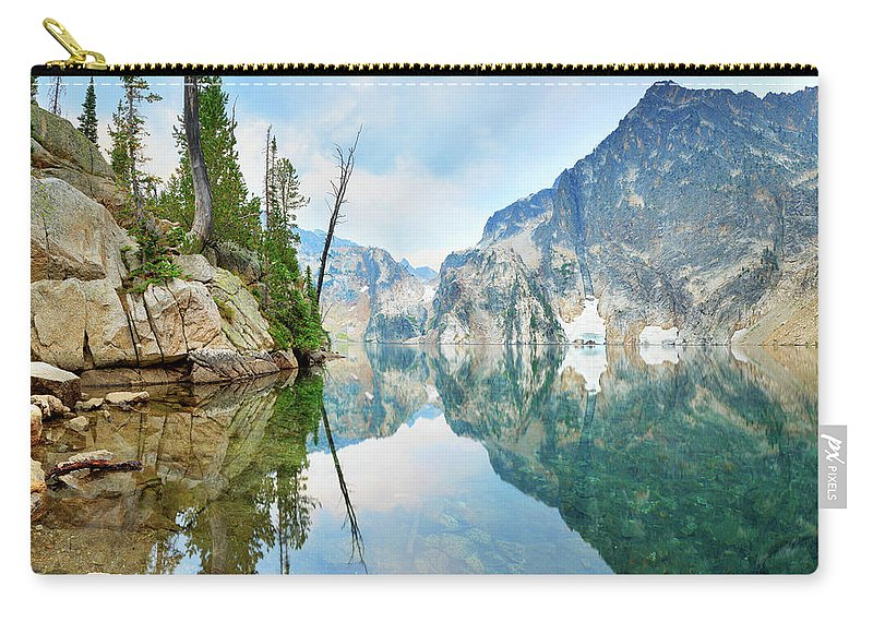 Tranquility Carry-all Pouch featuring the photograph Goat Lake On Cloudy Day In Sawtooth by Anna Gorin
