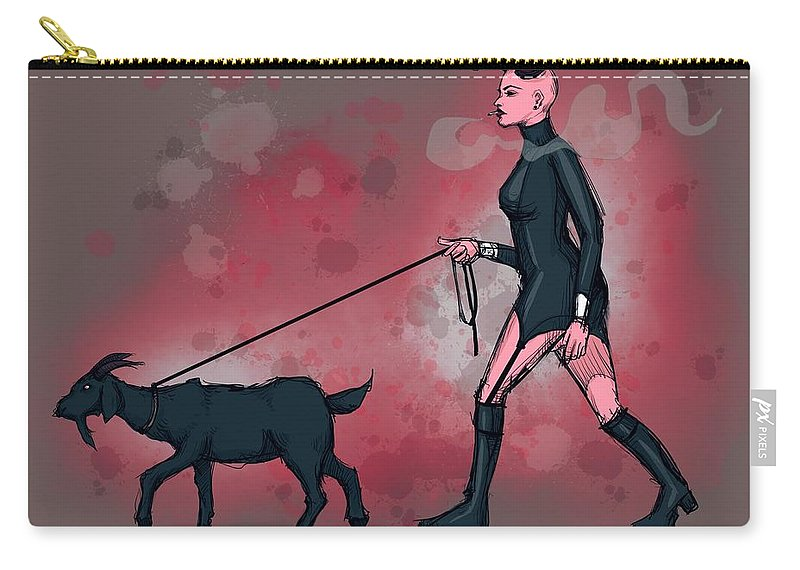 Devil Carry-all Pouch featuring the drawing Goat Walk by Ludwig Van Bacon