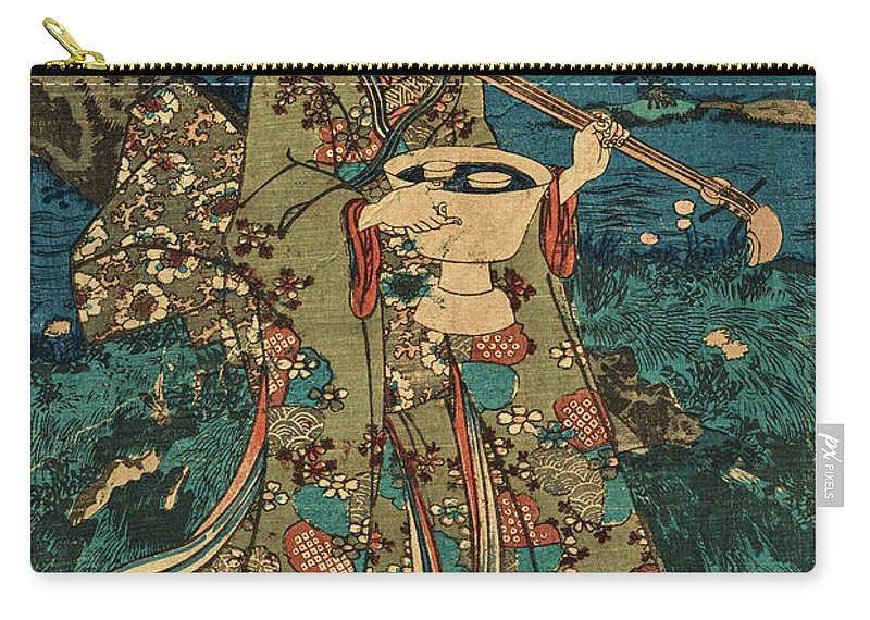 Party Carry-all Pouch featuring the painting Going To A Cherry Blossom Viewing Party by Utagawa Kunisada