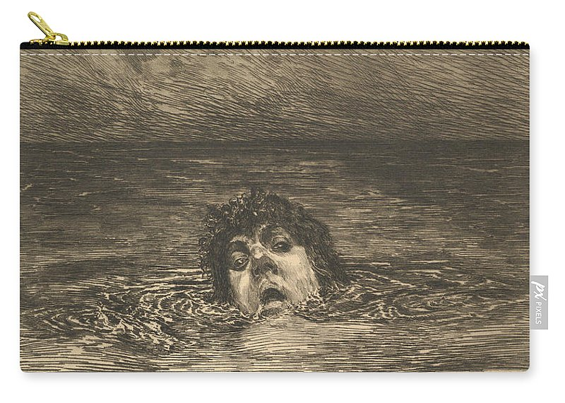 19th Century Art Carry-all Pouch featuring the relief Going Under by Max Klinger