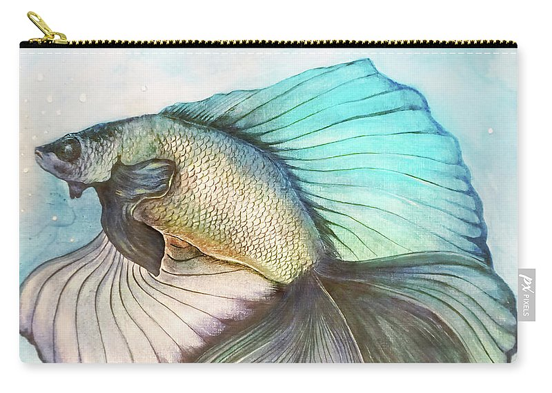 Fish Gold Blue Water Bubble Wave Acrylic Ink Agnes Isabel Picture Wall Pillow Colors Carry-all Pouch featuring the painting Goldfish by Agnes Isabel