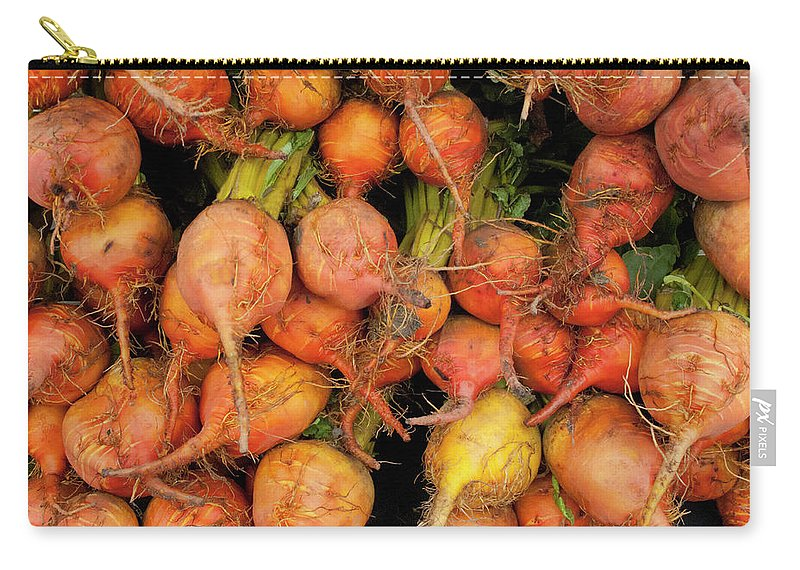 Orange Color Carry-all Pouch featuring the photograph Golden Beets At A Farmers Market by Bill Boch