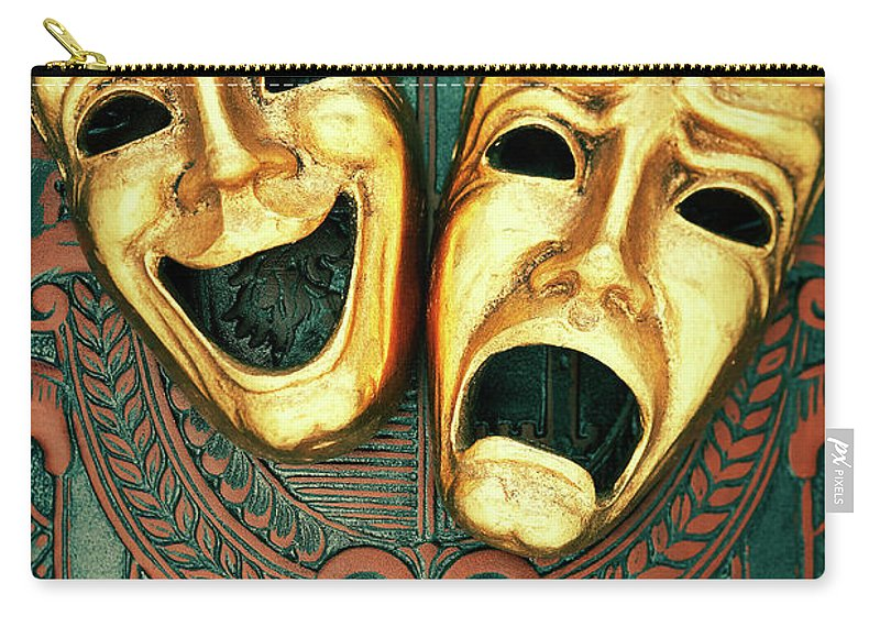 Leather Carry-all Pouch featuring the photograph Golden Comedy And Tragedy Masks On by David Muir