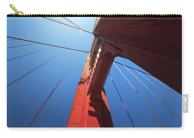 San Francisco Carry-all Pouch featuring the photograph Golden Gate Bridge Tower by Mortonphotographic