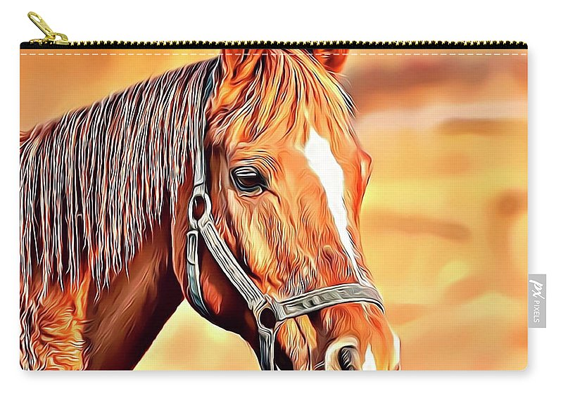 Horse Carry-all Pouch featuring the digital art Golden Horse by Russell Carter