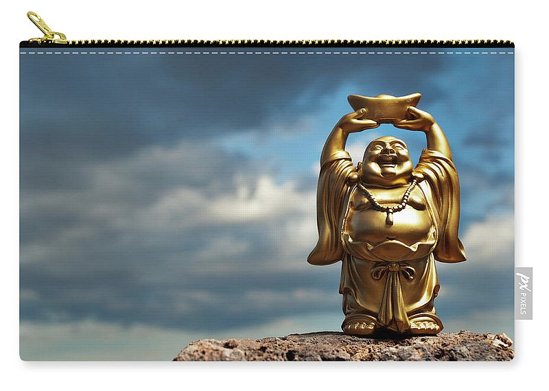 Chinese Culture Carry-all Pouch featuring the photograph Golden Prosperity Buddha by Wesvandinter