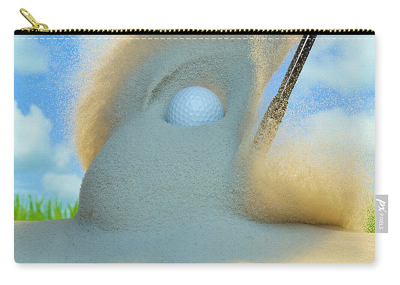 Drive Carry-all Pouch featuring the photograph Golf Ball Being Driven Out Of A Sand by Don Farrall