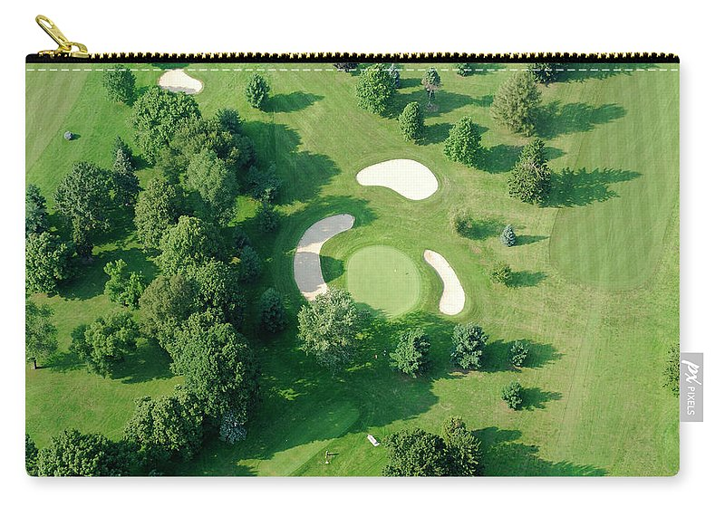 Sand Trap Carry-all Pouch featuring the photograph Golf Course Close Up From The Air by Groveb