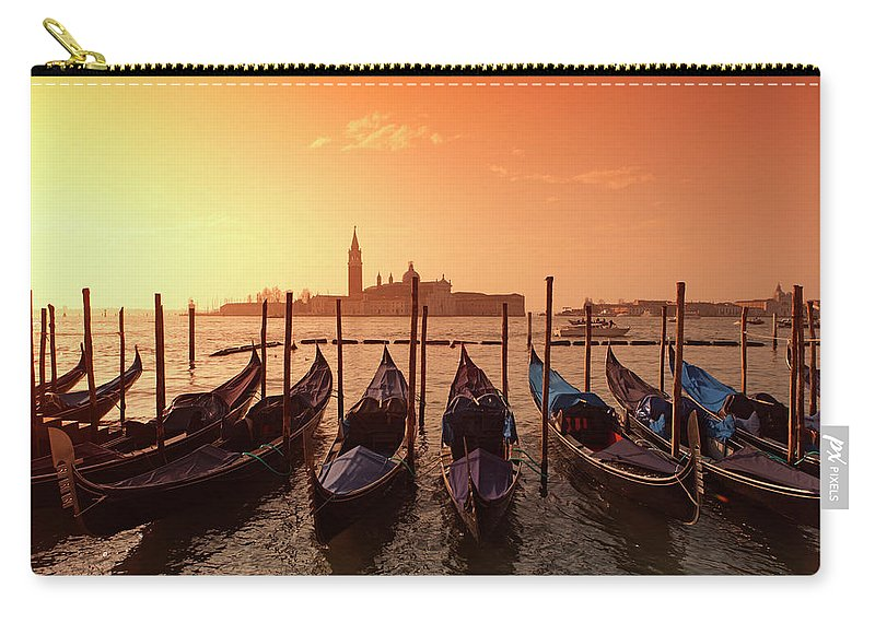 Scenics Carry-all Pouch featuring the photograph Gondolas And Saint George Major In by Massimo Pizzotti