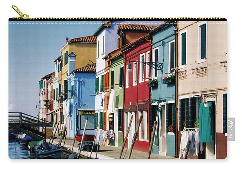 Row House Carry-all Pouch featuring the photograph Gondolas In A Canal, Burano, Venice by Medioimages/photodisc