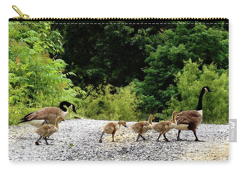 Goose Family Carry-all Pouch featuring the digital art Goose Family by Anita Faye
