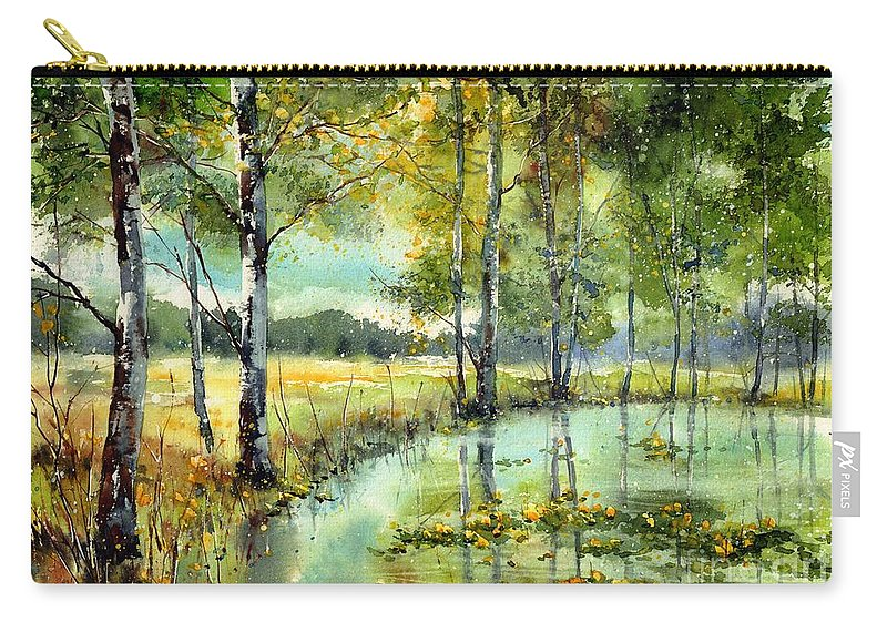 Floral Carry-all Pouch featuring the painting Gorgeous Water Lilies Bloom by Suzann Sines