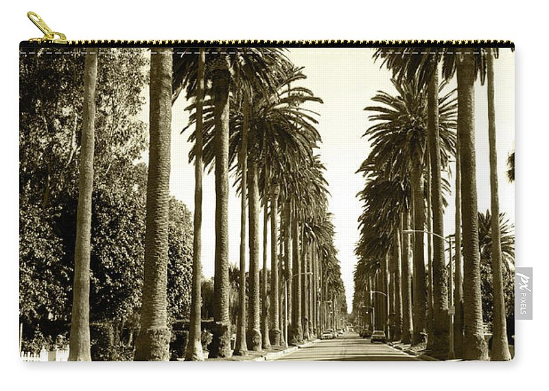 1950-1959 Carry-all Pouch featuring the photograph Grayscale Image Of Beverly Hills by Marcomarchi
