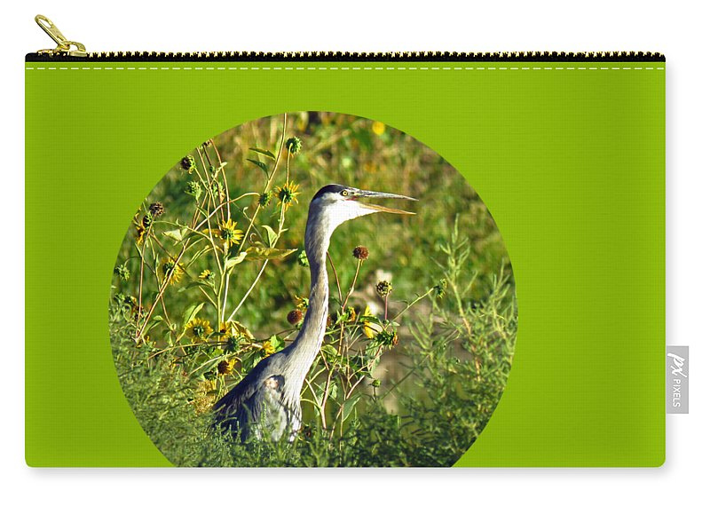 Carry-all Pouch featuring the photograph Great Blue Gulp Round by Chad Vidas