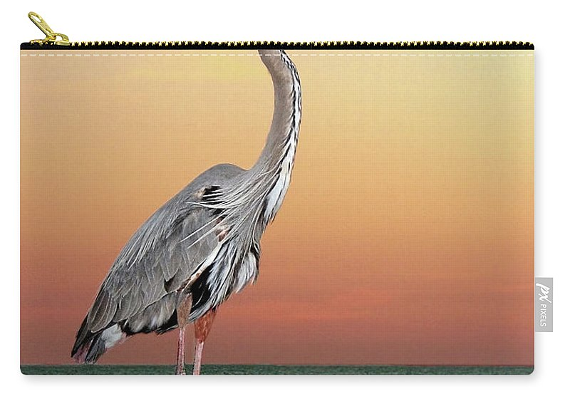Scenics Carry-all Pouch featuring the photograph Great Blue Heron In Seaside Sunset by Melinda Moore