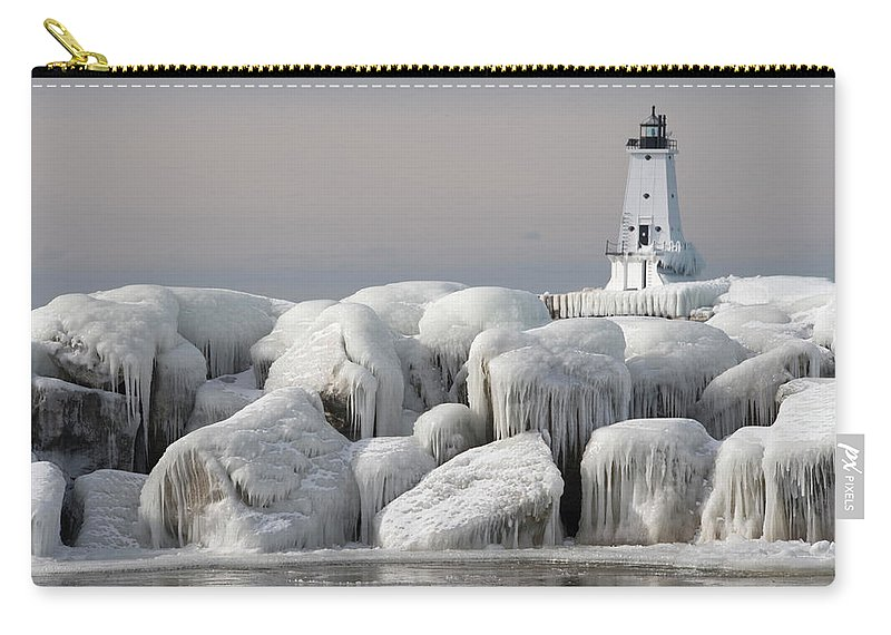 Water's Edge Carry-all Pouch featuring the photograph Great Lakes Lighthouse With Ice Covered by Jskiba