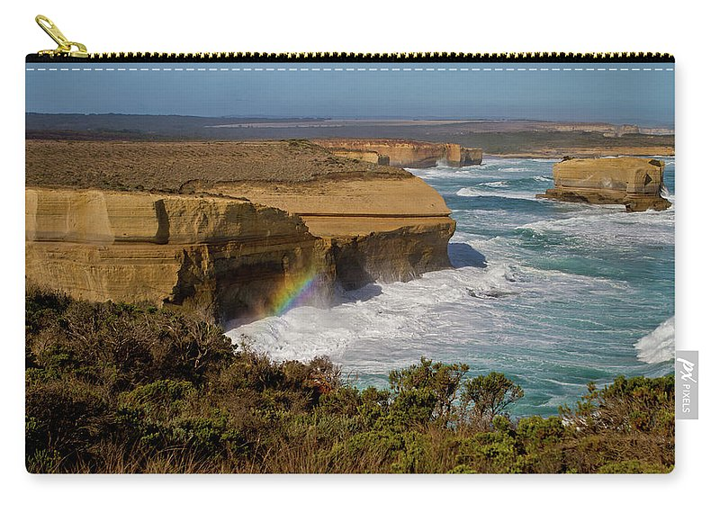 Tranquility Carry-all Pouch featuring the photograph Great Ocean Road Rainbow by Peta Jade