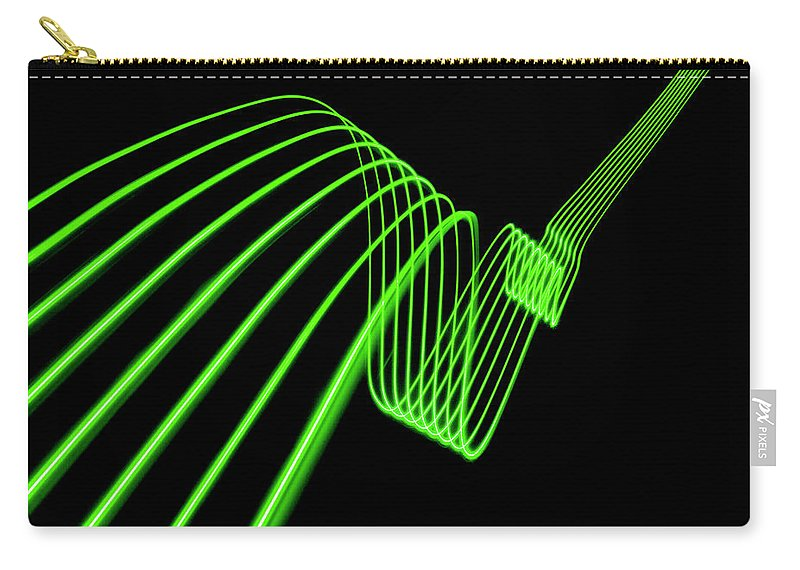 Laser Carry-all Pouch featuring the photograph Green Abstract Coloured Lights Trails by John Rensten