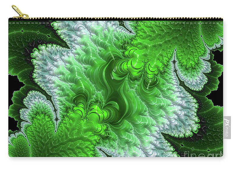 Fractals Carry-all Pouch featuring the digital art Green Frosty Canyon by Elisabeth Lucas