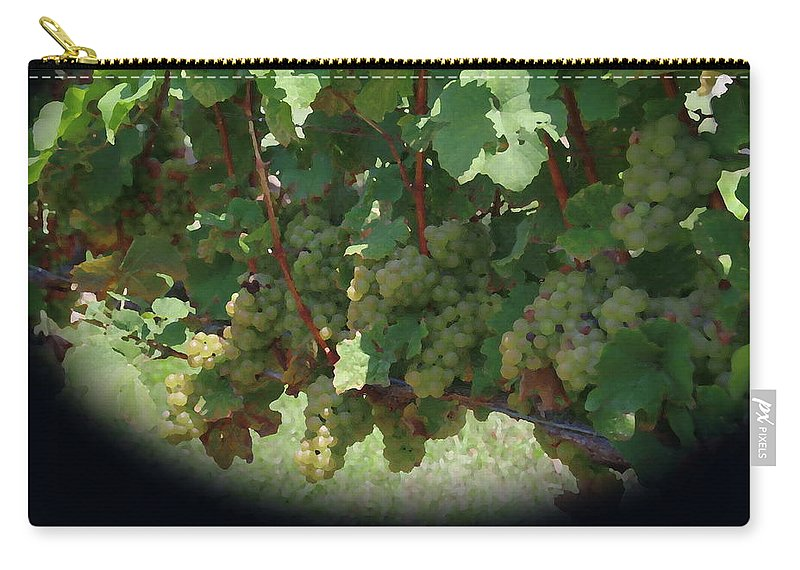 Green Grapes Carry-all Pouch featuring the photograph Green Grapes On The Vine 16 by Cathy Lindsey