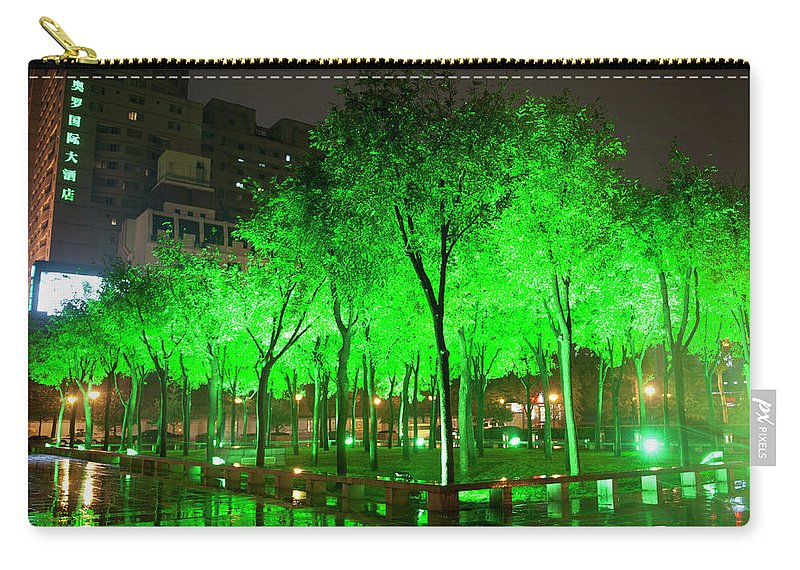 Outdoors Carry-all Pouch featuring the photograph Green Illuminated Trees, China by Shanna Baker