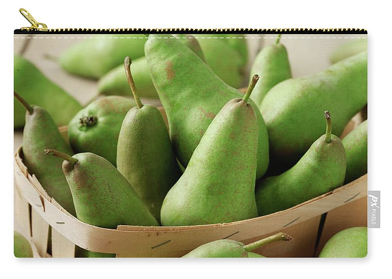 Fruit Carton Carry-all Pouch featuring the photograph Green Pears In Punnet And Wooden Table by Chris Ted