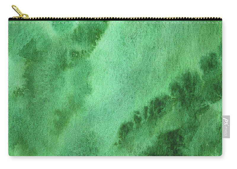 Abstract Carry-all Pouch featuring the painting Green Splashes And Glow Abstract Watercolor by Irina Sztukowski