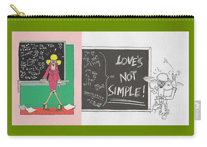 Valentine Greeting Card Carry-all Pouch featuring the painting Greeting Card Love Is Not Simple by Don Martin