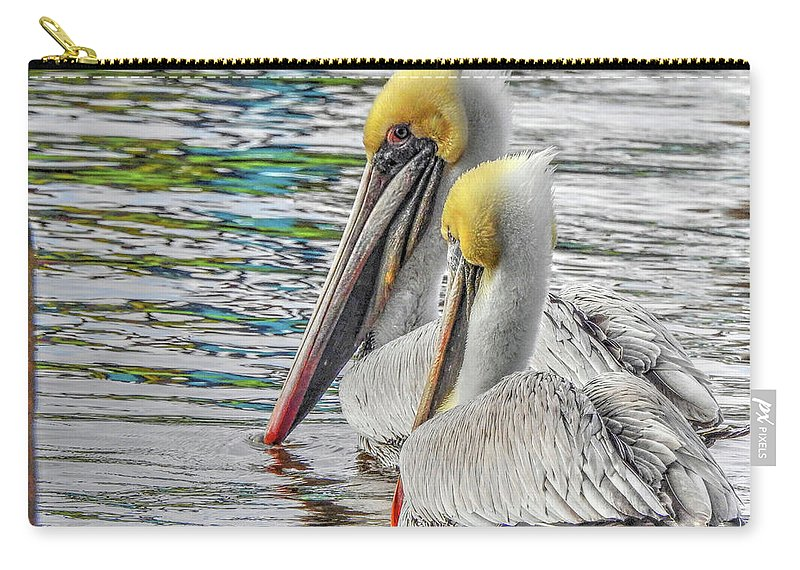 Pelican Carry-all Pouch featuring the photograph Greeting Party by Charlotte Schafer
