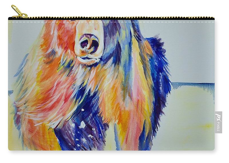 Original Carry-all Pouch featuring the painting Grizzly Sprint by Nickie Perrin Paintings
