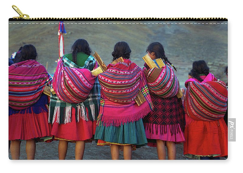 People Carry-all Pouch featuring the photograph Group Of Peruvian Woman In Colorful by Linka A Odom