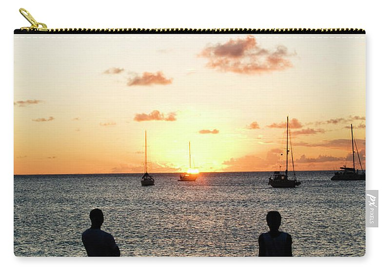 Recreational Pursuit Carry-all Pouch featuring the photograph Group Of Young Friends On Beach At by Jaminwell