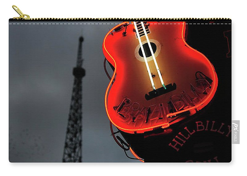 Outdoors Carry-all Pouch featuring the photograph Guitar With Nashville by James Atkinson Photography