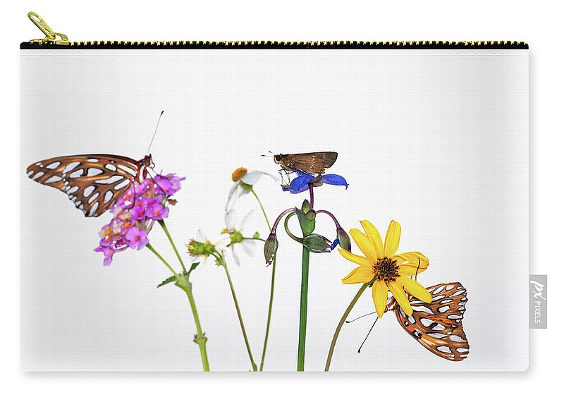 White Background Carry-all Pouch featuring the photograph Gulf Fritillary And Brown Skipper by Jim Mckinley