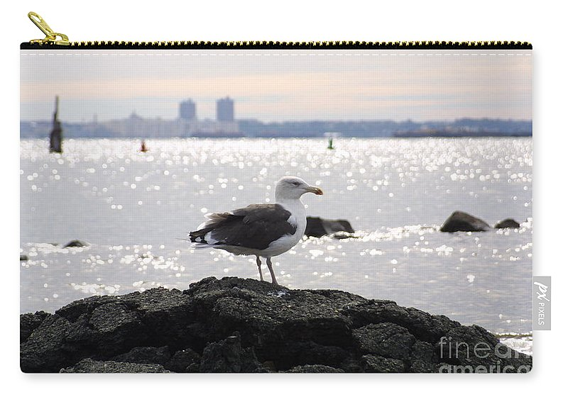 Lone Gull Stands On Rock Carry-all Pouch featuring the photograph Gull Isle II by Darren Dwayne Frazier