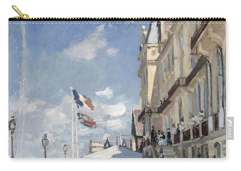 Claude Monet Carry-all Pouch featuring the painting H Tel Des Roches Noires Trouville by Claude Monet