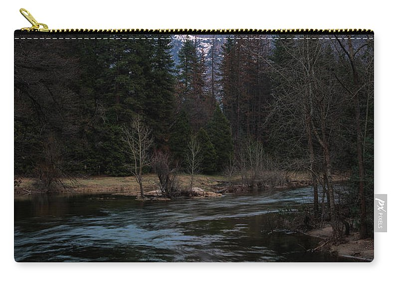 Half Dome Reflection Over Merced River At Sunset Carry-all Pouch featuring the photograph Half Dome Reflection Over Merced River At Sunset, Yosemite National Park by Yefim Bam