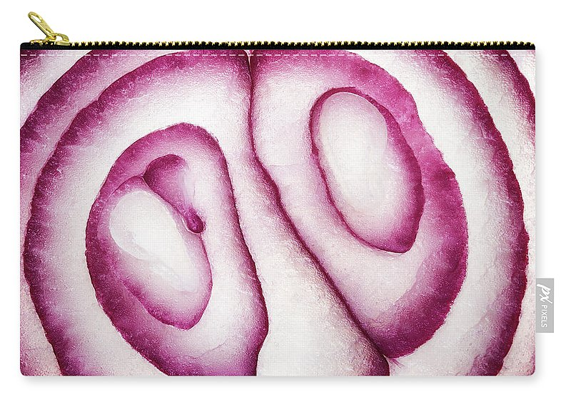 Red Carry-all Pouch featuring the photograph Half Red Onion Macro by Johan Swanepoel