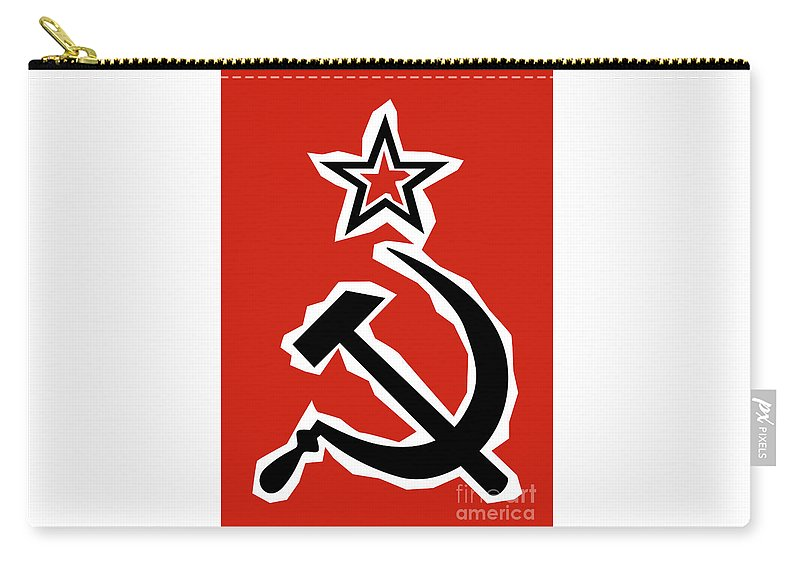 Cccp Carry-all Pouch featuring the digital art Hammer And Sickle Grunge by Bigalbaloo Stock