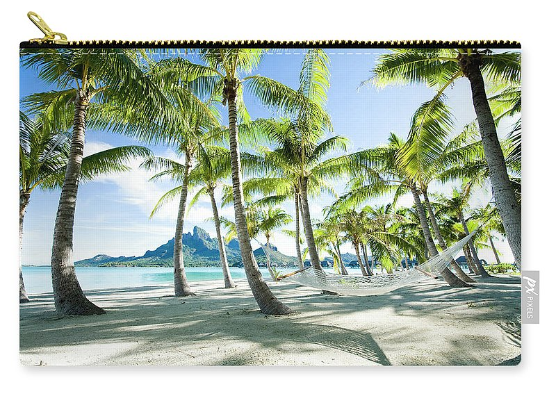 Hanging Carry-all Pouch featuring the photograph Hammock At Bora Bora, Tahiti by Yusuke Okada/amanaimagesrf